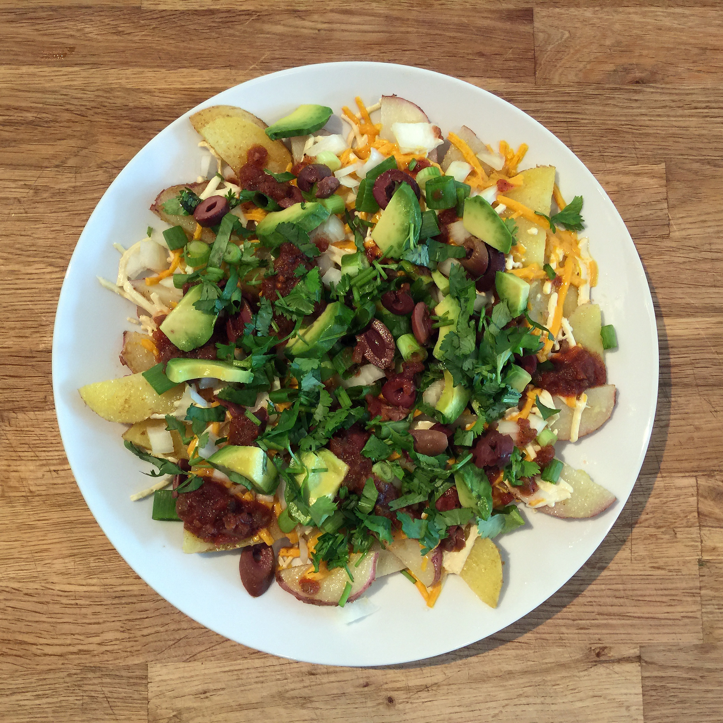 Potato Nachos on a plate