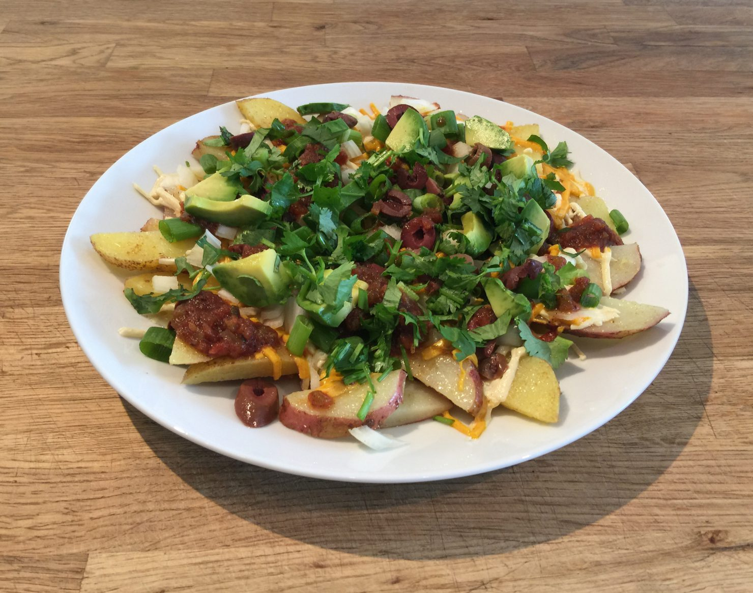 Potato nachos side view